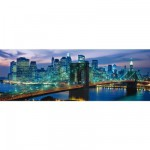 Clementoni-39209 Jigsaw Puzzle - 1000 Pieces - Panoramic - New York : Brooklyn Bridge