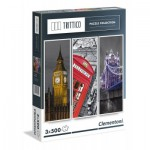 Clementoni-39306 3 Jigsaw Puzzles - London