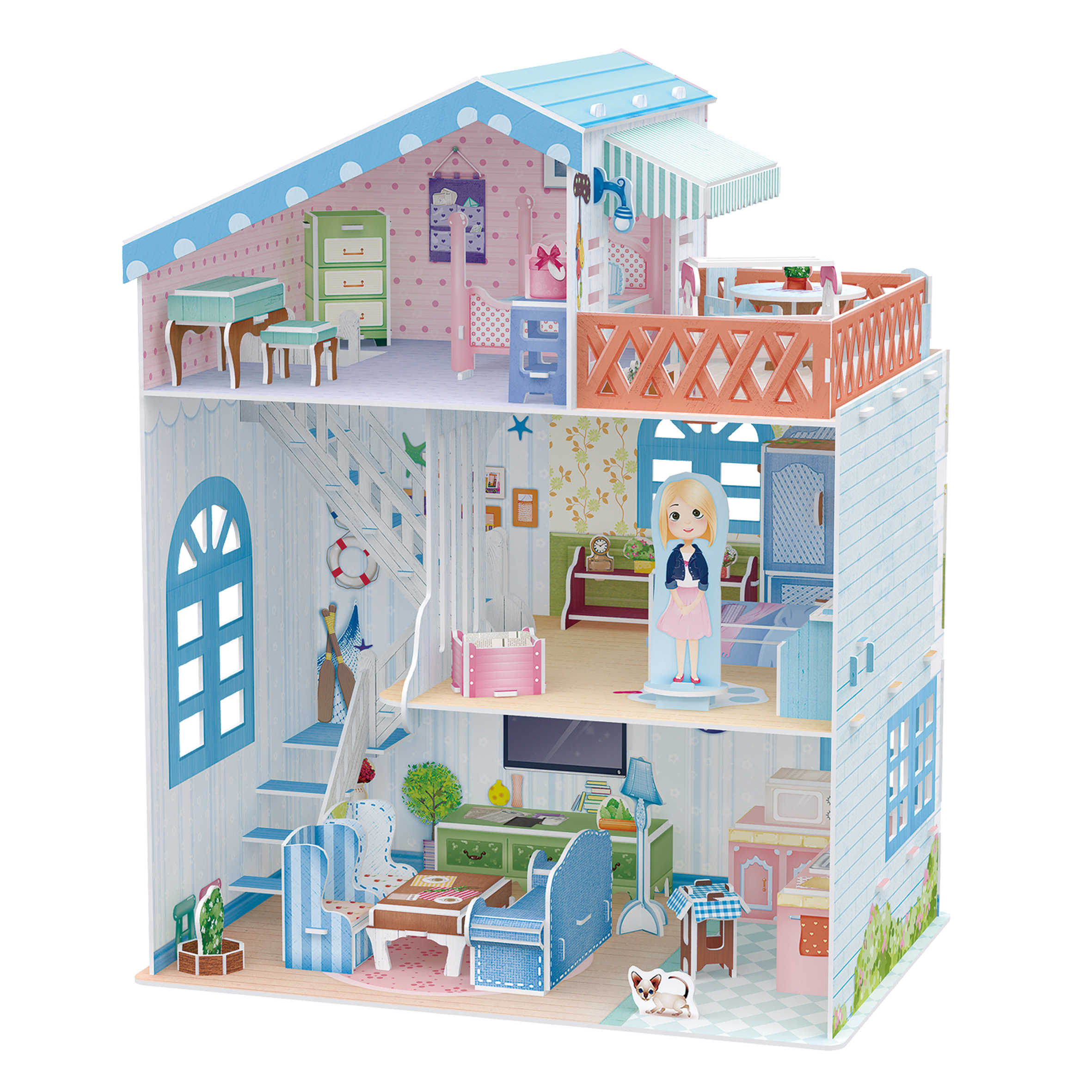 3D Jigsaw Puzzle - Seaside Village (Difficulty: 4/6) Cubic ...