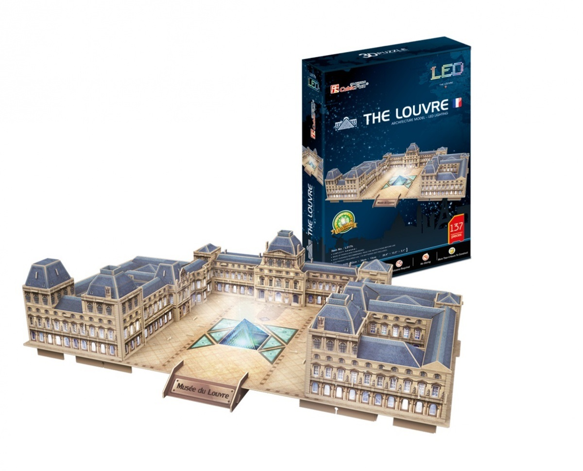 3D Jigsaw Puzzle with LED - Le Louvre - Difficulty 6/8
