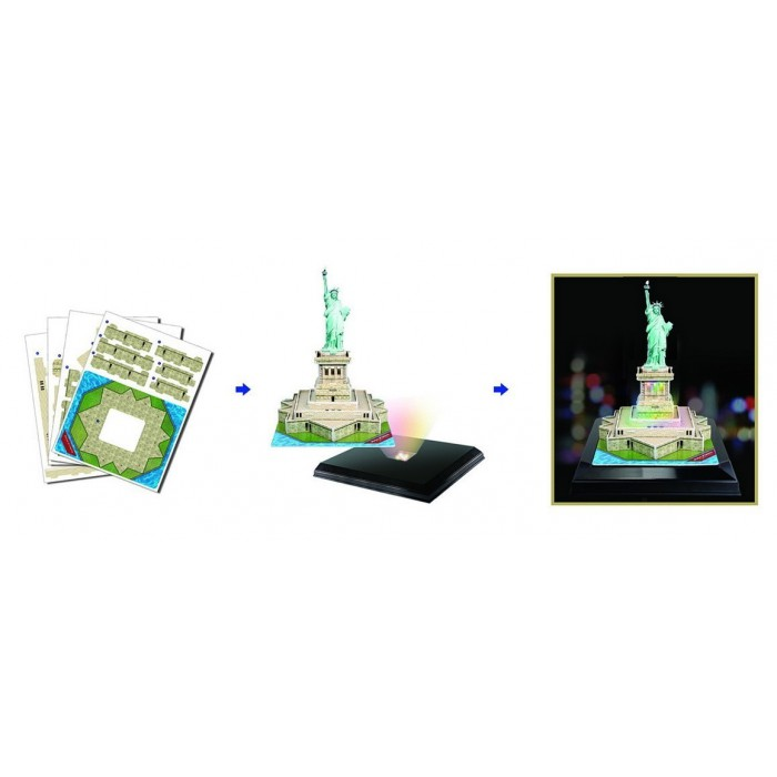 3d jigsaw puzzle with led light statue of liberty cubic fun l505h 37 pieces jigsaw puzzles. Black Bedroom Furniture Sets. Home Design Ideas