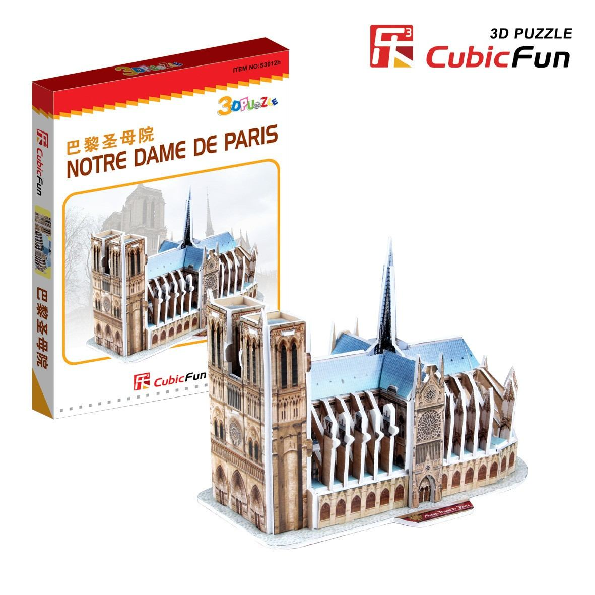 3d mini series puzzle france paris our lady cathedral difficulty 2 8 cubic fun s3012h 39. Black Bedroom Furniture Sets. Home Design Ideas