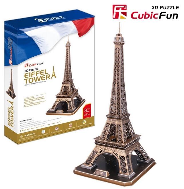 3d puzzle france paris eiffel tower cubic fun mc091h 82 pieces jigsaw puzzles monuments. Black Bedroom Furniture Sets. Home Design Ideas