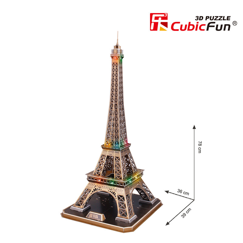 3d puzzle with led eiffel tower paris difficulty 6 8 cubic fun l091h 82 pieces jigsaw. Black Bedroom Furniture Sets. Home Design Ideas