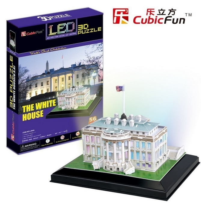 3d Puzzle With Led Washington The White House Cubic Fun