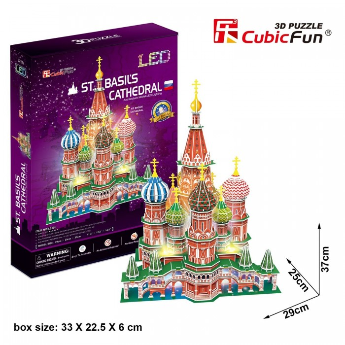 3D Jigsaw Puzzle with LED - St. Basil's Cathedral - Difficulty 6/8
