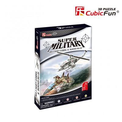 Cubic-Fun-P628H 3D Puzzle - AH-1 Huey Cobra & Sukhoi SU-35 (Difficulty: 4/8)