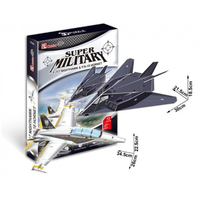 Cubic-Fun-P629H 3D Puzzle - F-117 Nightawk & F/A-18 Hornet