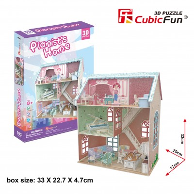 Cubic-Fun-P684h 3D Jigsaw Puzzle - Pianist's Home (Difficulty: 4/6)