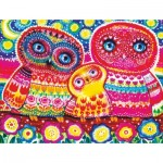 Wooden Puzzle - Colorful Owls
