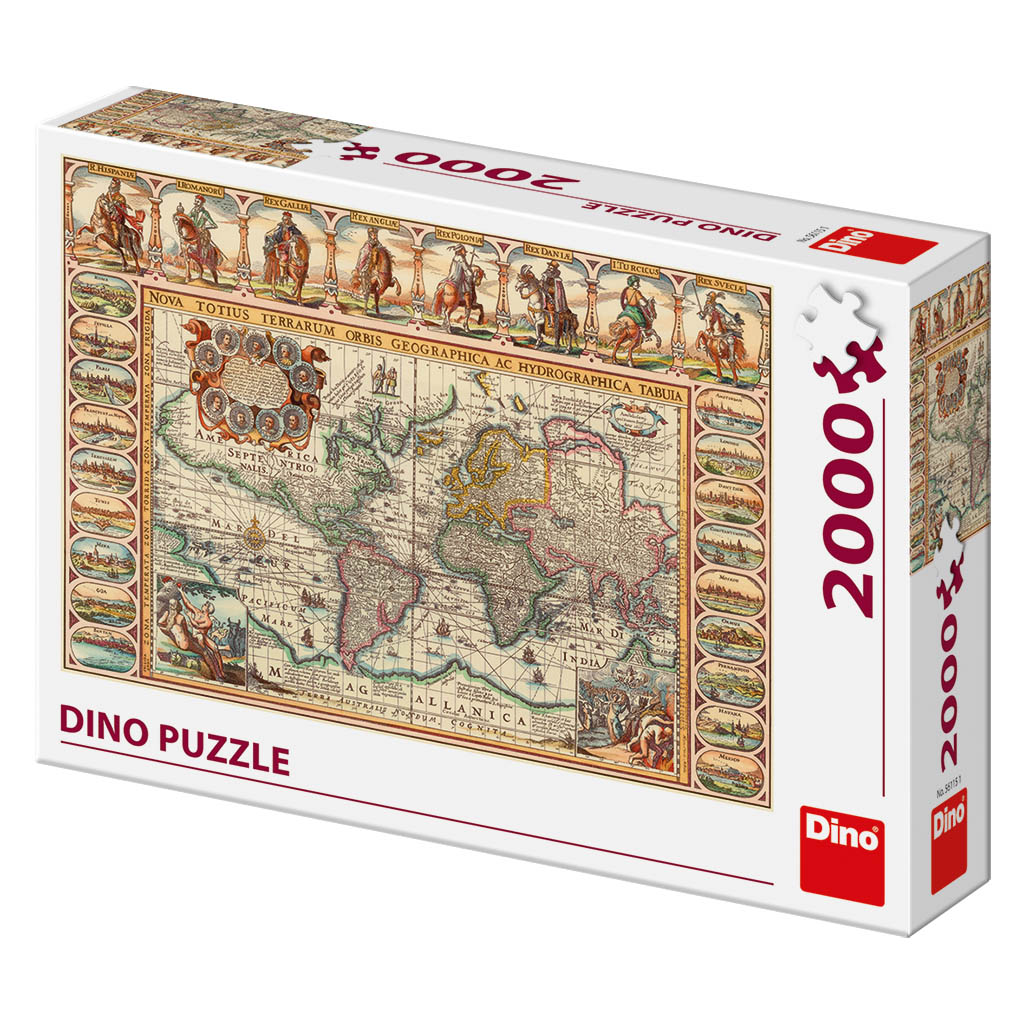 Antique World Map Puzzle.Puzzle Antique World Map Dino 56115 2000 Pieces Jigsaw Puzzles
