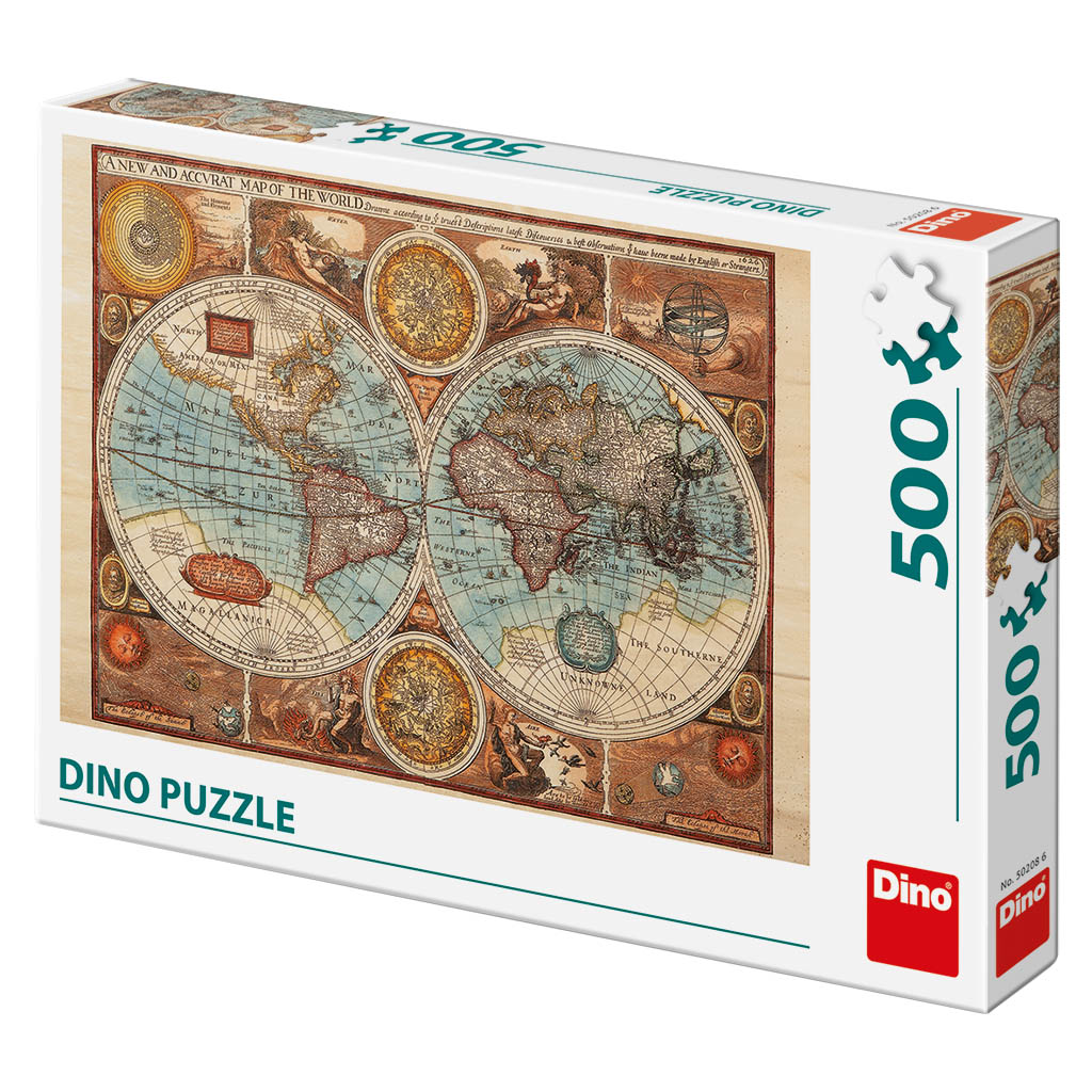 Puzzle antique world map dino 50208 500 pieces jigsaw puzzles antique world map antique world map gumiabroncs Choice Image