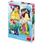 Dino-33318 4 Puzzles - Disney Princess