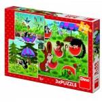 Dino-33526 3 Jigsaw Puzzles - Little Mole and the Umbrella
