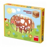 Dino-64120 Wooden Cube Puzzle - Farm Animals