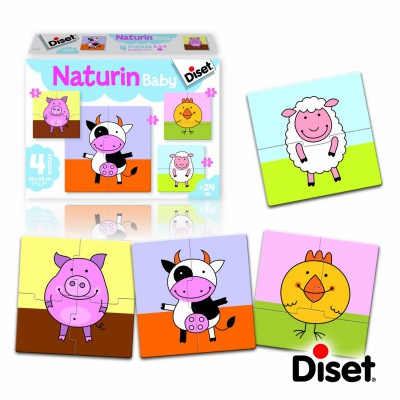 4 Naturin Baby Puzzles The Farm Diset 63783 2 Pieces Jigsaw
