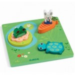 Djeco-01047 Wooden Jigsaw Puzzle - 1,2,3 Froggy