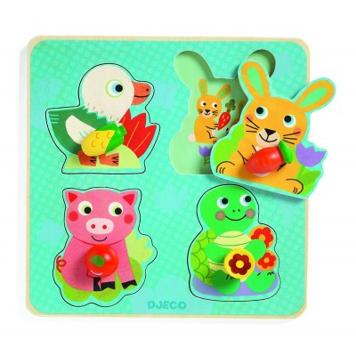 Djeco-01048 Wooden Jigsaw Puzzle - Croc-carrot