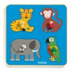 Djeco-01062 Wooden Frame Puzzle - Family Jungle