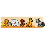 Djeco-01111 Peg Puzzle - 5 Pieces - Wooden - Savannah