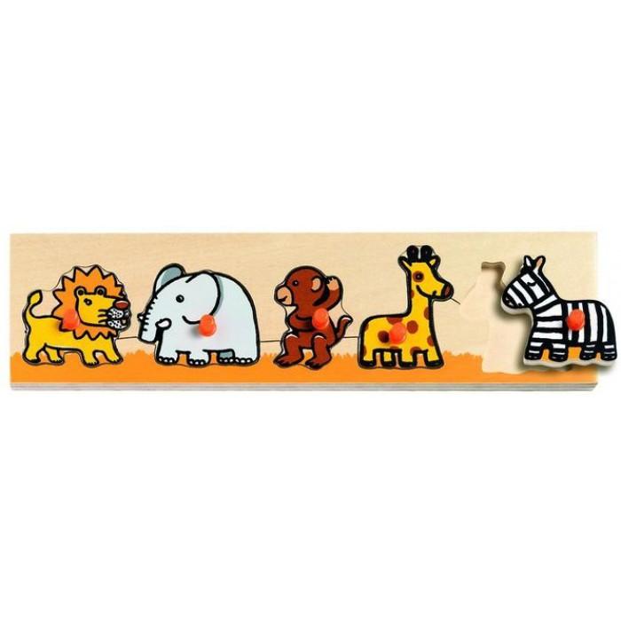 Peg Puzzle - 5 Pieces - Wooden - Savannah