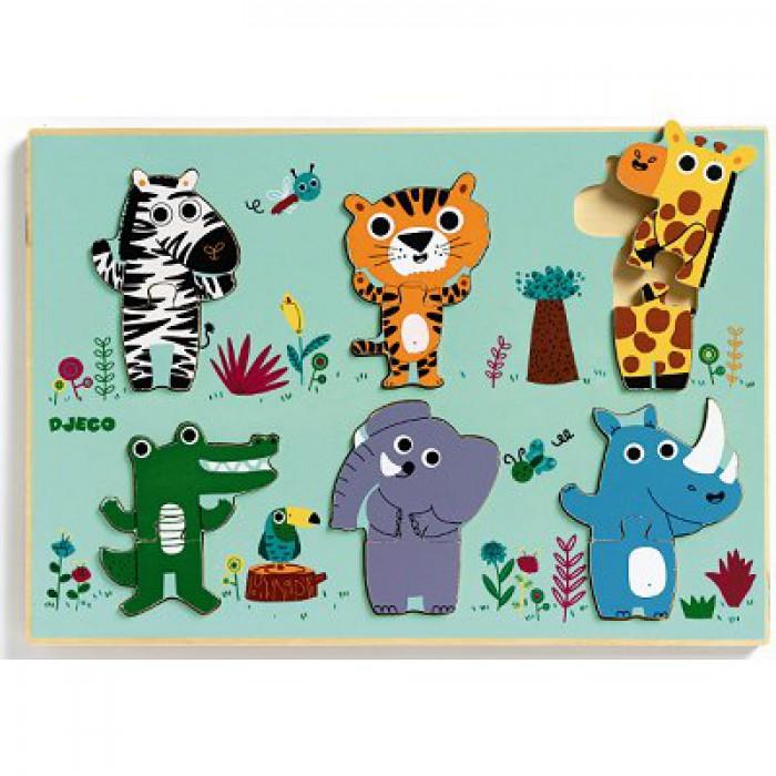 Peg Puzzle - 12 Pieces - Wooden - Hello Jungle Animals !