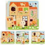 Djeco-01480 Peg Puzzle - Wooden - 3 in 1 - Rabbit Cottage