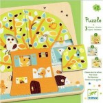 Djeco-01481 Peg Puzzle - Wooden - 3 in 1 - Tree House