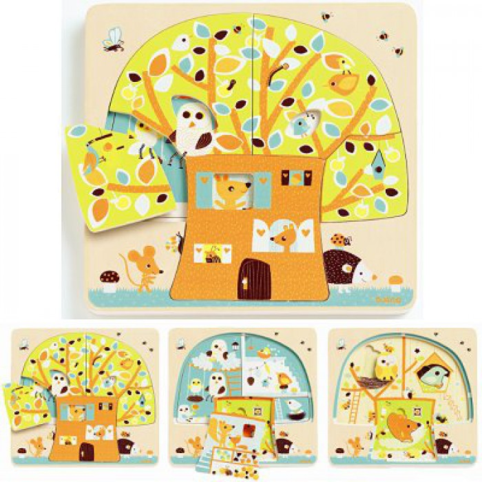 Peg Puzzle - Wooden - 3 in 1 - Tree House