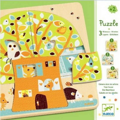 Djeco-01481 Peg Puzzle - Wooden - 3 in 1 - Treehouse