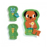 Djeco-01487 Wooden Puzzle - 3 Levels - Charly and Co