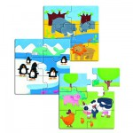 Djeco-01552 Jigsaw Puzzle - 18 Pieces - 3 in 1 - Wooden - First Puzzles : Animals and Company
