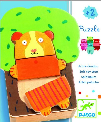 Djeco-01681 Peg Puzzle - 15 Pieces - Wooden - Educational - Cuddly Tree