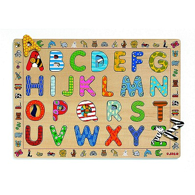 Djeco-01800 Peg Puzzle - 26 Pieces - Wooden - ABC Letters