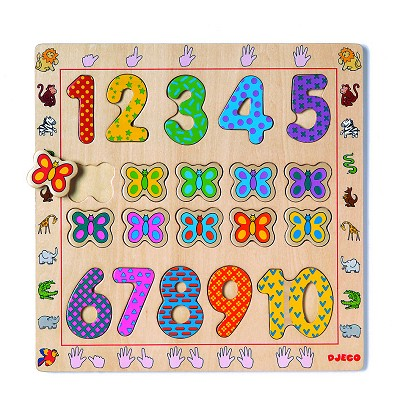 Djeco-01801 Peg Puzzle - 20 Pieces - Wooden - The Numbers from 1 to 10