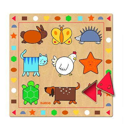 Djeco-01803 Peg Puzzle - 9 Pieces - Wooden - The Shapes