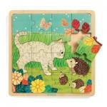 Djeco-01813 Wooden Jigsaw Puzzle - Garden