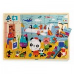 Djeco-01818 Wooden Frame Puzzle - Puzzlo Airport