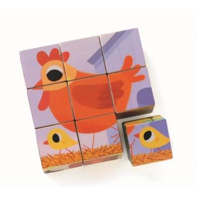 Djeco-01950 Cube Jigsaw Puzzle - Piou Piou & Cie