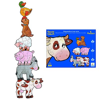 Djeco-07111 Jigsaw Puzzle - 72 Pieces - Giant - 6 in 1 - Daisy and her Friends