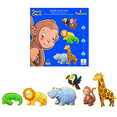 Djeco-07114 Jigsaw Puzzle - 38 Pieces - Giant - 6 in 1 - Marmoset and his Friends