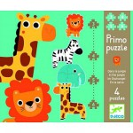 Djeco-07135 Jigsaw Puzzles - 18 Pieces each - 4 in 1 - In the Jungle