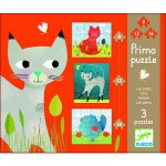 Djeco-07136 Jigsaw Puzzles - 9, 12 and 16 Pieces - 3 in 1 - Cats