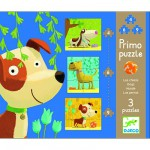 Djeco-07137 Jigsaw Puzzles - 4, 6 and 9 Pieces - 3 in 1 - Dogs