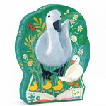 Djeco-07202 Jigsaw Puzzle - 24 Pieces - Hen Shaped Box - Vegetable Garden and Hens