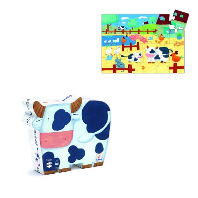 Djeco-07205 Jigsaw Puzzle - 24 Pieces - Cow Shaped Box - Cows of the Farm