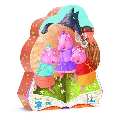 Djeco-07212 Jigsaw Puzzle - 24 Pieces - Pig Shaped Box - The Three Little Pigs