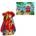 Djeco-07220 Jigsaw Puzzle - 36 Pieces - Pirate Shaped Box - The Pirate and his Treasure