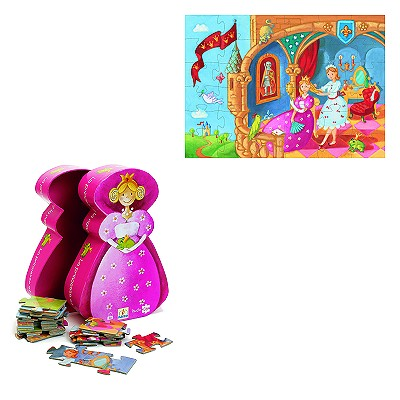 Djeco-07221 Jigsaw Puzzle - 36 Pieces - Princess Shaped Box - The Princess and the Frog