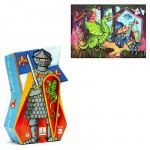 Djeco-07223 Jigsaw Puzzle - 36 Pieces - Knight Shaped Box - The Knight and the Dragon